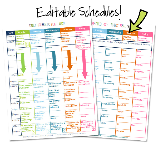 Homeschool Organization Course Bonus Editable Schedules